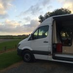 With a campervan in New Zealand